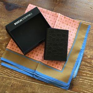 Bosca Black Trifold Leather Wallet & J. Crew Silk